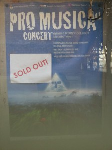 Sold Out Pro Musica