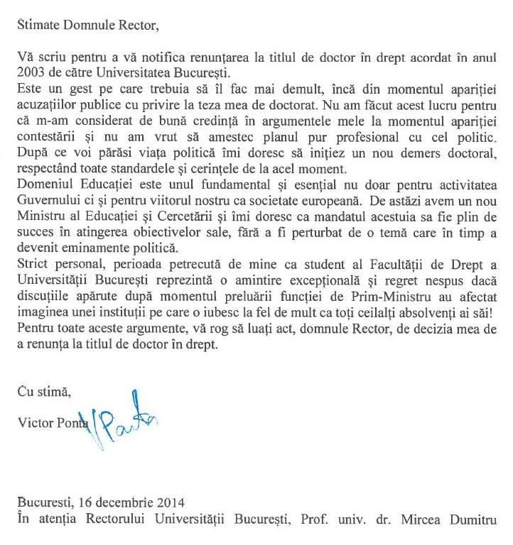 scrisoare Victor Ponta