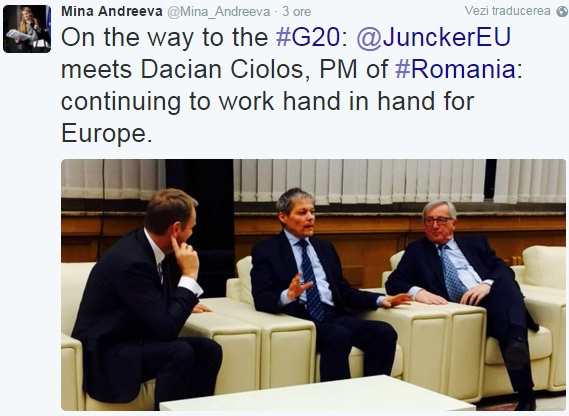 intalnire Dacian Ciolos Jean Claude Juncker twitter