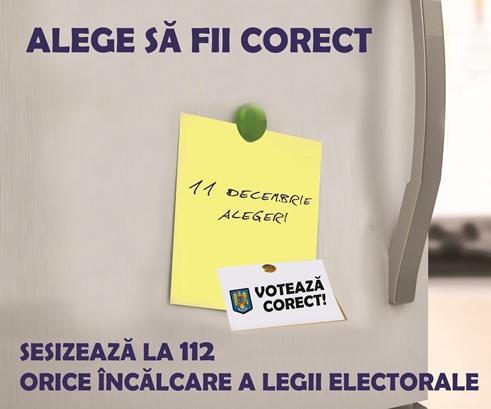 Alege sã fii corect! Sesizeazã la 112 orice încãlcare a legii electorale!