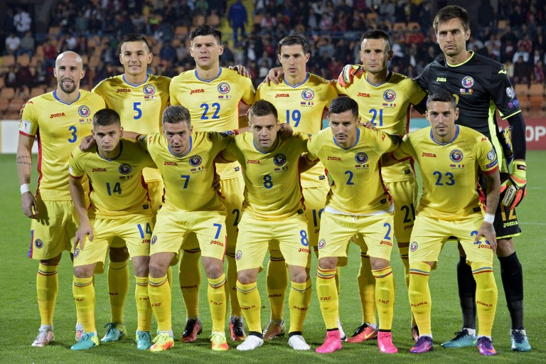 From L (back row): Romania's Iasmin Latovlevici, Ovidiu Hoban, Cristian Sapunaru, Bogdan Stancu, Dragos Grigore, Ciprian Tatarusanu (first row): Razvan Marin, Alexandru Chipciu, Adrian Popa, Romario Benzar and Nicolae Stanciu pose for a group picture ahead of the WC 2018 football qualification match between Armenia and Romania in Yerevan on October 8, 2016.  / AFP PHOTO / Karen MINASYAN