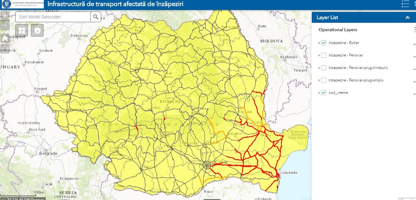 Hartă interactivă cu starea drumurilor și căilor ferate