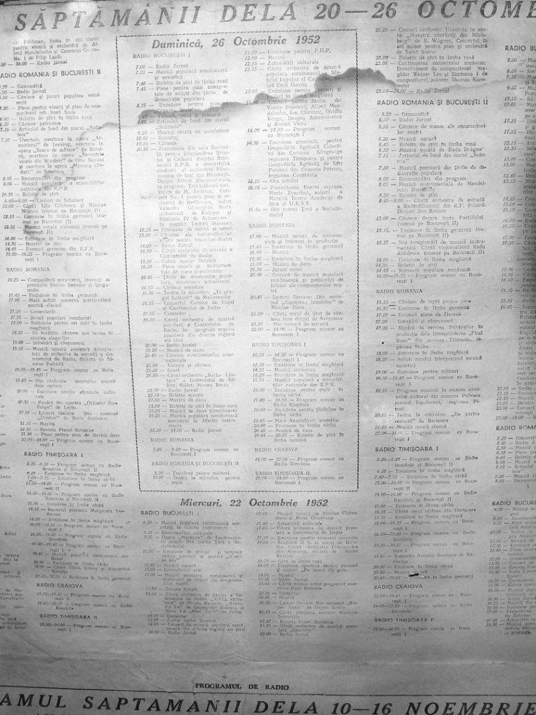 Programul Radio Timisoara în ... 1952