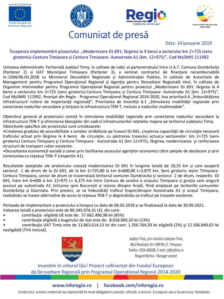 Comunicat Presa CJ TIMIS 769x1024 - Modernizare DJ 691: lărgirea la 4 benzi a sectorului km 2+725 (sens giratoriu)-Centura Timișoara și Centura Timișoara- Autostrada A1 (km. 12+975)